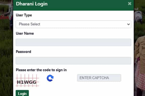 Login to Dharani Enrollment