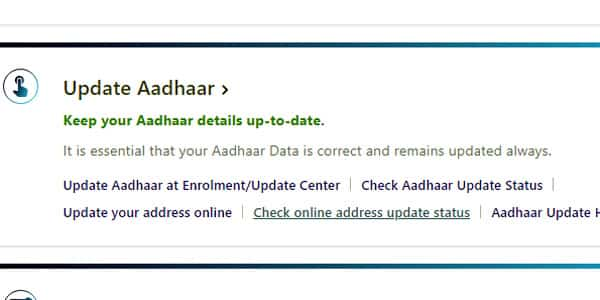UIDAI updating address