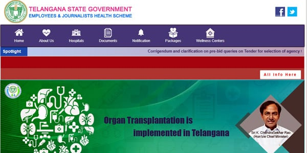 Official Website of EHS Telangana