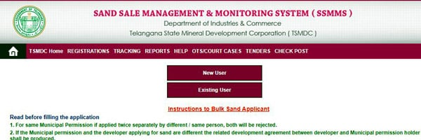 Application for Bulk Sand Booking in Sand Sale Portal