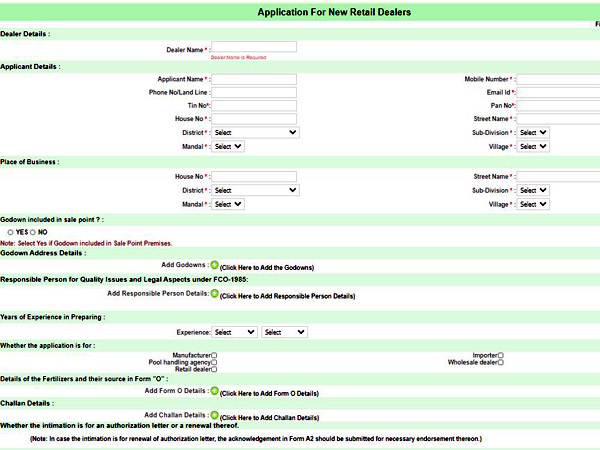 Application form for retail dealers