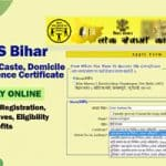 RTPS Bihar | Caste, Income & Residence Certificate Online Registration