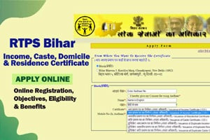 Bihar RTPS Online Portal for caste, income and residence certificates