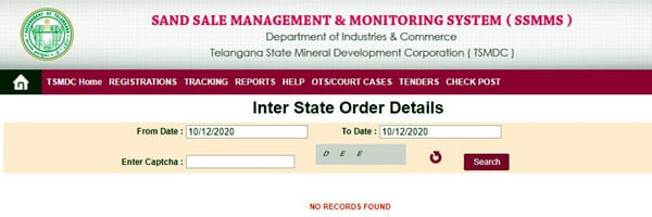 Inter State Sand Booking Order Details