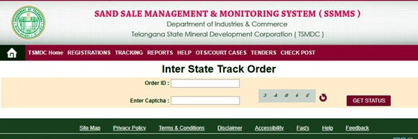Inter State Sand Booking order tracking