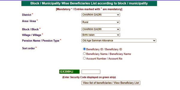 Old Age Pension Scheme Beneficiary List