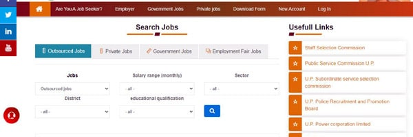 sewayojan.up.nic.in Outsourcing job search