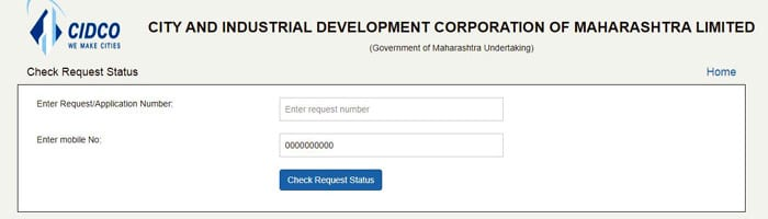 Check Request Status of CIDCO Lottery 2021
