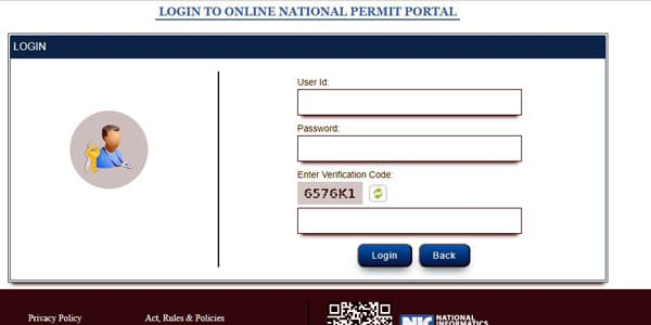 login for national permit online status
