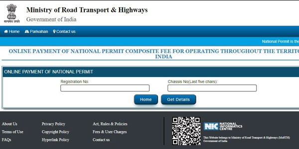 national permit online payment
